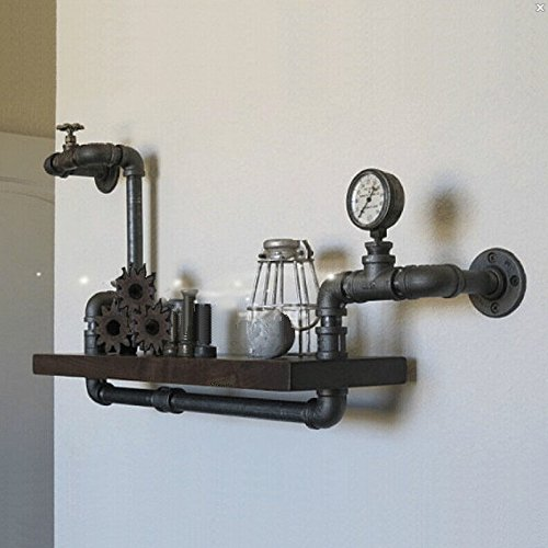 Regal Schmiedeeisen Regal Wand montiert Holz-Regal Vintage kreativen Rohre von alten Möbeln,Matt Black Wand-montiert Beleuchtung