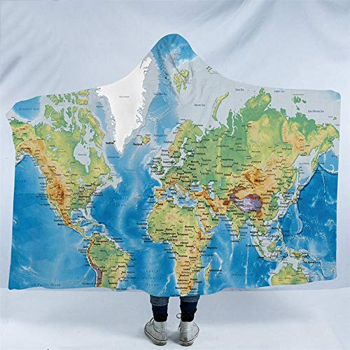 World Map Hooded Blanket Erwachsene Mikrofaser Sherpa Fleece Ocean Blue Wearable Throw Blanket auf dem Bettsofa - Ocean Fleece-stoff
