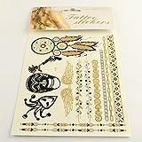 Metallic Tattoos in gold,silber,schwarz, temporär für die Haut, Motiv 33