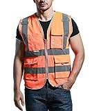 Unisex Hohe Sichtbarkeit Warnweste Reflektierende Weste mit Taschen - Orange