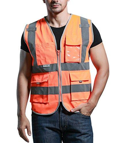 SFVest Unisex Hohe Sichtbarkeit Warnweste Atmungsaktiv Reflektierende Weste mit Taschen - Orange Größe M