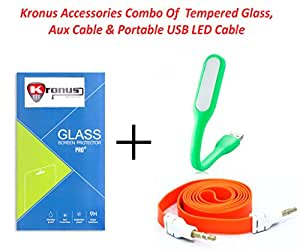 Kronus Auxiliary(AUX) Cable,Portable USB LED Cable & 2.5D Curve edged Tempered Glass For OPPO R1 R829