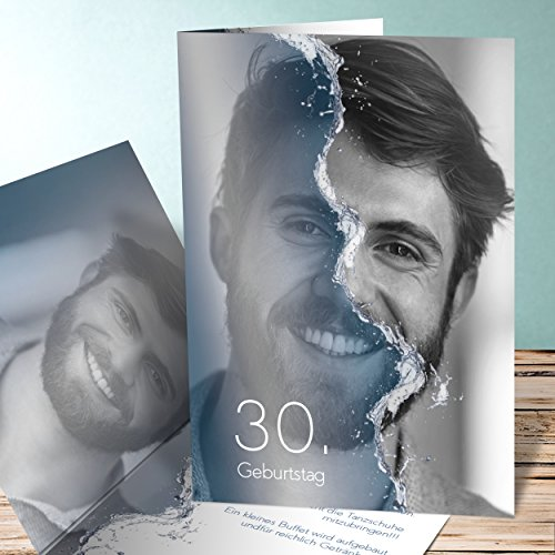 Geburtstagskarte online gestalten, Jungbrunnen 20 Karten, Vertikale Klappkarte 105x148 inkl. weiße Umschläge, Blau