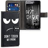 kwmobile Funda chic de cuero sintético para el Samsung Galaxy S2 S2 PLUS con una práctica función de soporte - ¡Diseño Don't touch my phone en blanco negro!