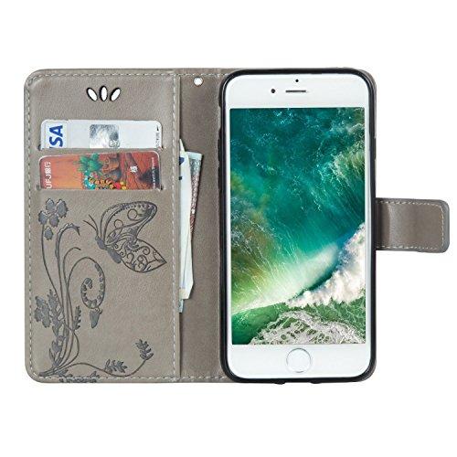 iPhone Case Cover Fleurs en relief motif de papillon en cuir solide PU étui en cuir Flip magnétique en silicone couverture de portefeuille cas de support avec une dragonne pour IPhone7 ( Color : White Gray
