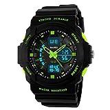 BesWLZ Jungen Multi-Funktion Digital LED Quarz Armbanduhr wasserabweisend Elektronische Sport Uhren Kind (Green)