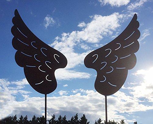 ENGELSFLÜGEL Paar 40x20cm Stecker Gartenstecker Weihnachten Engel Flügel Rost Edelrost Rostfigur + Original Pflegeanleitung von Steinfigurenwelt