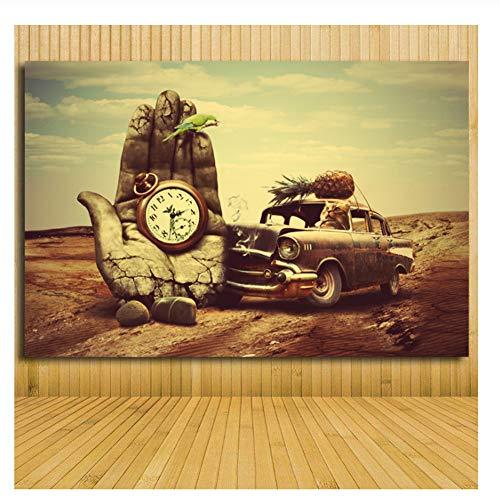 nr Wand-dekor Klassische Kunst Salvador Dali Handuhr Auto Ananas Papagei Leinwand Kunst Malerei Drucke Poster für Wohnzimmer 60x80 cm Kein Rahmen