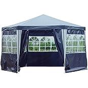 Kronenburg 42601616527600, Kronenburg Pavillon PE Gartenzelt 6-Eck Partyzelt Wasserdicht mit 6 Seitenteilen in Blau