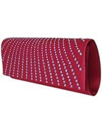 Elegante Abendtasche,Party Clutch m. Strass,21x9 cm,Rot