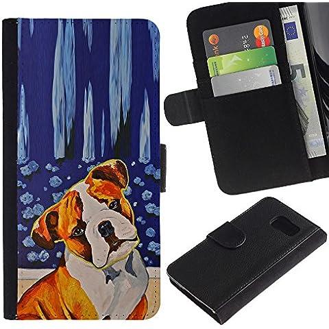Red Fawn Boxer American Bull Terrier Dog - la tarjeta de Crédito Slots PU Funda de cuero Monedero caso cubierta de piel Samsung Galaxy S6
