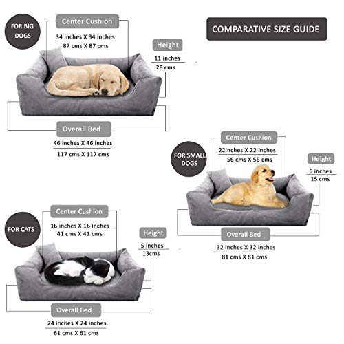 Pet Royale Reversable Velvet Bed for Small Dogs with Extra Detachable Cotton Seat Cover (Grey)