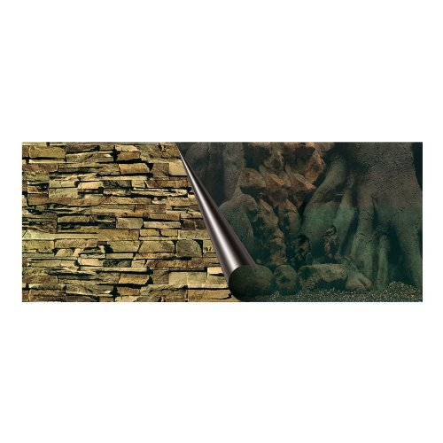 Europet Bernina 241-109014 Photo-Rückwand, 80 x 40 cm Motiv Tree und Rock - Fisch-aquarium-rock-hintergrund