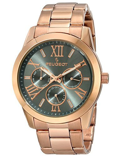 Peugeot Women's 7095GY Grey Dial Calendar Rose Gold Watch