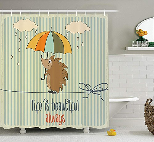 334f168d13e2 Quotes Decor Collection, Hedgehog with Umbrella under Rain and Phrase Life  is Beautiful Always Pattern, Polyester Fabric Bathroom Shower Curtain, 84  ...