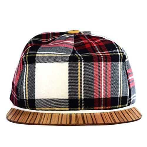 Tartan Cap mit edlem Holzschild Made in Germany - Cabrio Basecap für Damen & Herren - Sehr leichte & bequeme Kappe - One size fits all Snapback Cappy (Baseball Tragen)