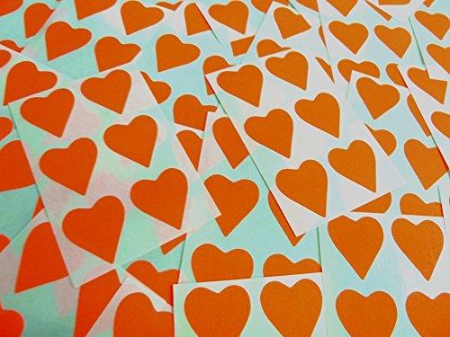 22x20mm Naranja Oscuro Con Forma De Corazón Etiquetas, 90 auta-Adhesivo Código De Color Adhesivos, adhesivo Corazones para Manualidades y Decoración