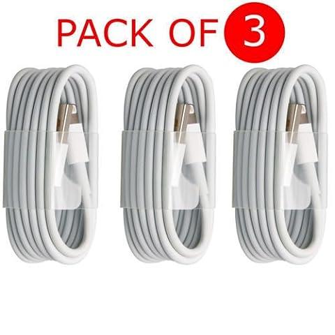 Mycs Lot de 3x Extra long 3metre USB Lead Sync câble de données chargeur pour iPhone 7, 6Plus 55S iPad UK