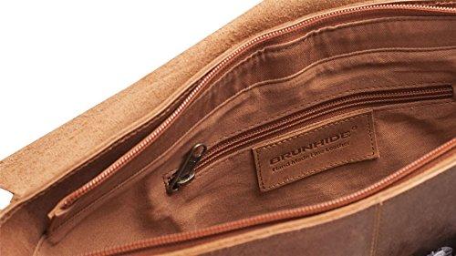 Brunhide - Grand sac en bandoulière - cuir de buffle/convient pour un ordinateur portable - # 154-300 Fauve