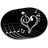 Treble Bass Clef Heart Music Black Coaster Set by Graphics and More