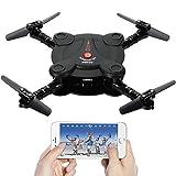 Leoie FPV Kamera RC Quadrocopter Drohne mit Live Video - Flexible faltbare Tragflächen App und Wifi Phone Control UAV 6-Achsen-Gyrosensor Schwerkraft-Sensor RTF Hubschrauber Spielzeug für jungen schwarz