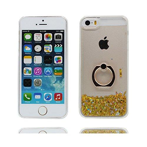 Case iPhone 5S Hülle, Handyhülle iPhone 5/SE/5C/5G Cover, Glitzer Bling Sparkles Fließendes Anti-Kratzer Ring Stand - Rose gelb