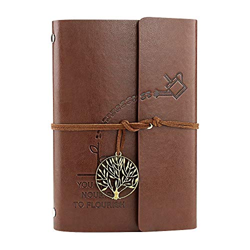 VEESUN Libreta Bonitas Hojas Blancas Cuaderno de Viaje Bloc Notas Cuero Vintage entre A6-A5, Regalo Originales Navidad San Valentín Cumpleaños Aniversario Boda para Mujer, Hervidor