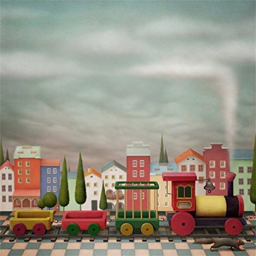 YongFoto 3x3m Vinilo Fondo de Fotografia Dibujos animados Juguetes Tren Locomotora Resumen Edificio Casa Rejilla Suelo Telón de Fondo Fiesta Niños Boby Boda Adulto Retrato Personal Estudio Fotográfico Accesorios