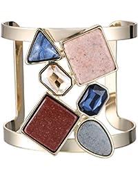 Brazalete de Metal de piedra de cristal eManco brazaletes de Puño Ancho brazalete de cobre pulsera de piedra Natural para las mujeres
