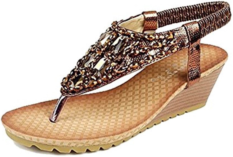 Guiran Damen Bohemia Keilsandaletten Glitzer Keilabsatz Sandalen Strass Wedges Schuhe Schuhe Strand Schuhe