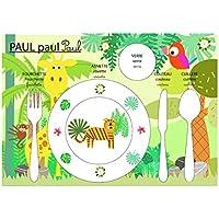 Conjunto de mesa educativa, mesa de los niños, tema de la selva, safari, tono verde.