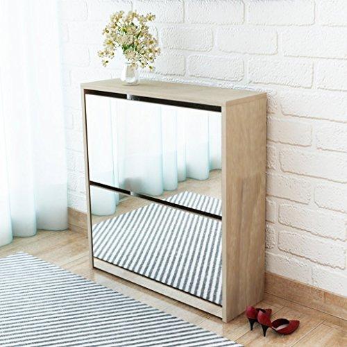 Festnight scarpiera armadio/scarpiera con 2 ripiani e specchio in rovere 63x17x67 cm