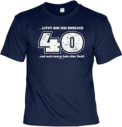 Cooles T-Shirt zum 40. Geburtstag - jetzt bin ich endlich 40 und noch immer kein alter Sack! Geschenk zum 40. Geburtstag 40 Navy-Blau