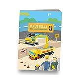 Mal- und Rätselheft BAUSTELLE mit 12 Seiten in DIN A6 // perfekt als Mitgebsel oder Geschenk Malbuch Malen Malblock Kinder Bauarbeiter
