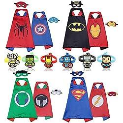 RioRand Los héroes de dibujos animados de Comics se disfrazan con máscaras (4 piezas con dos caras y 8 máscaras y 6 pulseras)