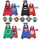 RioRand 4 Costumi da Supereroi per Bambini con 8 Maschera in Feltro, 6 Braccialetti di Schiaffo per Regali di Compleanno Bambini Giocattoli