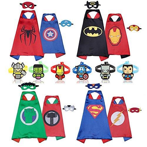 Los héroes de dibujos animados de RioRand Comics se disfrazan con máscaras (4 piezas con dos caras y 8 máscaras y 6 pulseras)