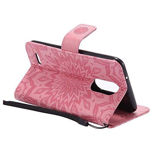 Custodia K8 2017, Dfly Premium PU Goffratura Mandala Design Pelle Chiusura Magnetica Protettiva Portafoglio Custodia Super Sottile Flip Cover per LG K8 2017, Grigio Rosa