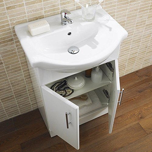 Premier VTY550 550 mm High Gloss Mayford Cabinet and Basin - White