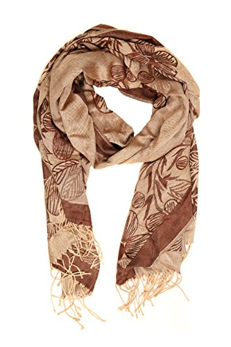 Sakkas CLDHS152 - Sakkas Afrota Blumenpaisley gewellter Rahmung Pashmina / Schal / Wrap / Stole - braun - One Size Regular