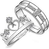 Omos Damen Diamant Kaiserkrone 925 Sterling Silber Paarringe Verstellbare Ringe Freundschaftsringe Als Valentine Geschenk