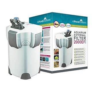 All Pond Solutions Aquarium External Fish Tank Filter 2000L/H Plus 9W UV Light Free 2000 EF Plus Filter Media