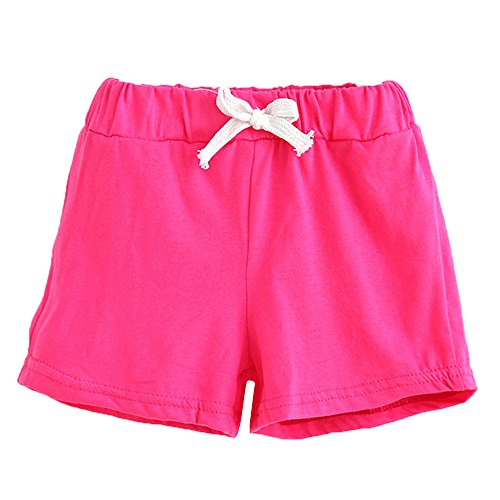 Bellelove Baby Shorts, Summer Children Cotton Shorts Boys and Girl Clothes for 1-6 Years Old (3-4 Years, Hot Pink)