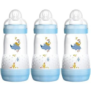MAM Easy Start Self Sterilising Anti-Colic Bottle, Medium Flow 2 Months Plus, Designs may Vary - 260 ml (Pack of 3)