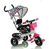 Triciclo para niños - Fascol Triciclo con ruedas de goma y parasol - rosa