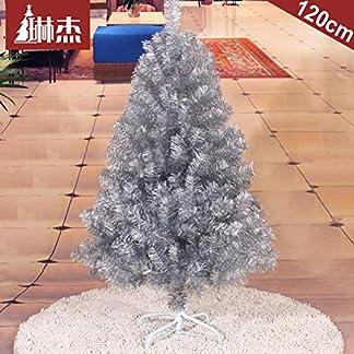 WZR Plateado Árbol De Navidad Artificial De Pino,120cm Árbol De Navidad Fácil De Montar con Sólido Soporte En Metal Decoración Navideña Interior Fiestas