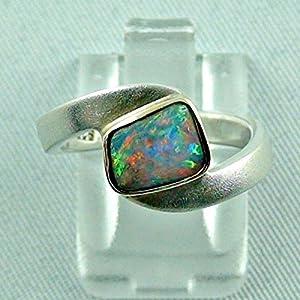 Sterling Silber Ring (925) mit Goldfassung (585) und einem Top GEM Boulder Opal