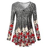 Yvelands Damen Langarmshirts Langarm Blumendruck Lässige Lose Oberteile Tunika Bluse Shirt(CN-M,schwarz)