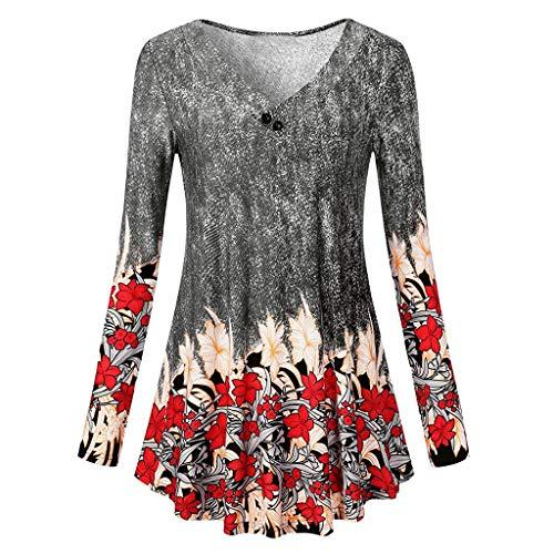TEBAISE Damen Langarm Asymmetrisch T-Shirt Stretch Longshirt Langarm-Tuniken丨A-Linie mit Blumendruck und Rundhalsausschnitt丨Rundhals Ausschnitt Locker Lässig Tunika Top Bluse
