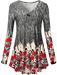 DEELIN Despeje Blusa Moda Mujer BotóN De Manga Larga ImpresióN Floral Casual Tops Sueltos Blusa TúNica Camiseta